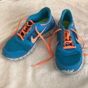 Nike orange and blue sneakers size 8.5